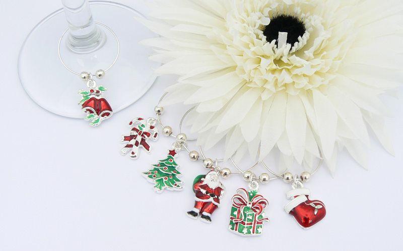 enamel wine glass charms christmas gifts - Christmas Wine Charms