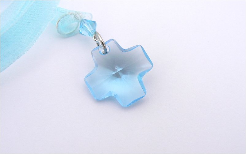 Something Blue crystal cross bridal bouquet decoration hanging from a metre