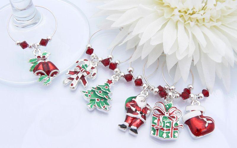 enamel christmas wine glass charms - Christmas Charms