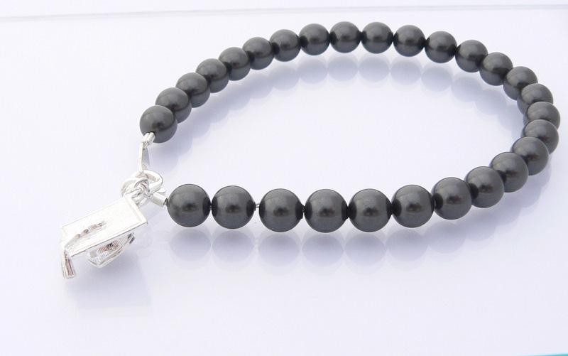 Girls Graduation Gift Mortar Board Charm Bracelet