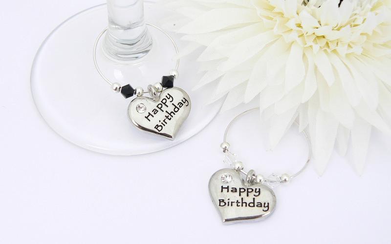 Happy Birthday Wine Glass Charms Birthday Gift Set