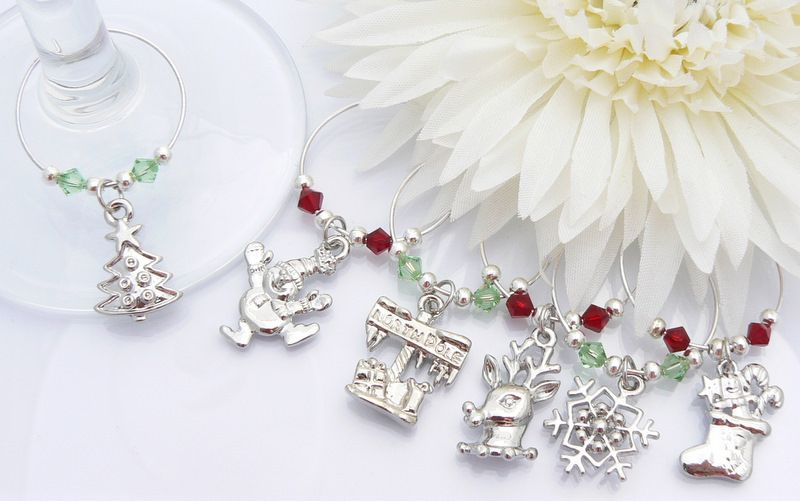 christmas wine charms red and green crystals - Christmas Wine Charms