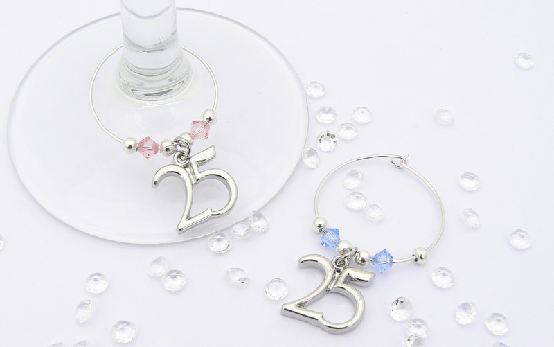 Silver Wedding Anniversary Gift 25th Wine Glass Charms