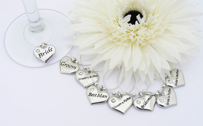 Wedding Table Decoration Wine Glass Charms Set of 8