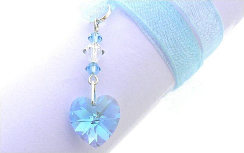 bouquet charm aqua crystal heart wedding bouquet charm