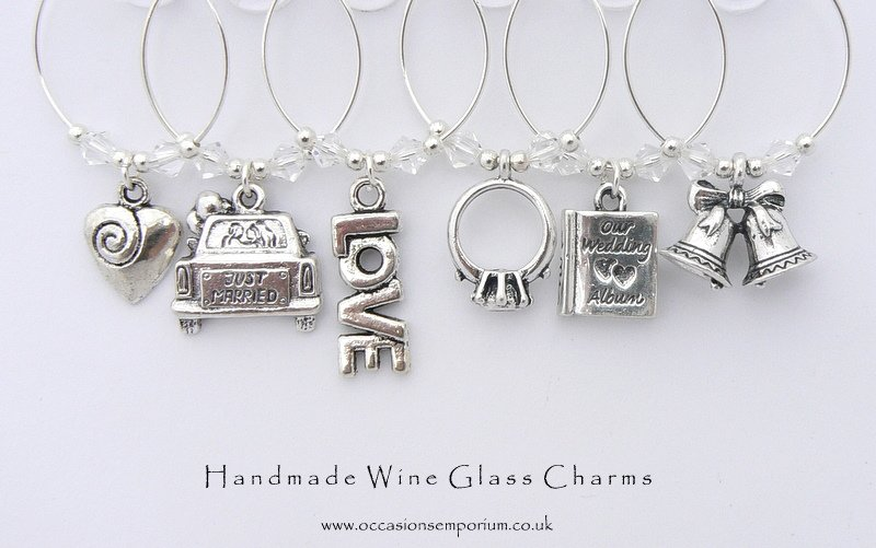 Just Married Gift | Wedding Day Theme Wine Glass Charms Set