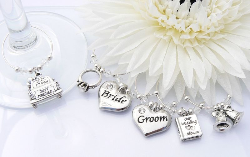 Wedding Day Wine Glass Charms | Top Table Decorations