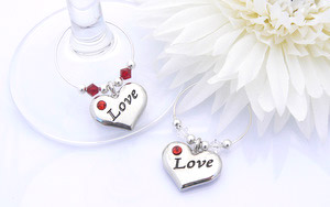 Love Wine Glass Charms Personalised Anniversary Gift