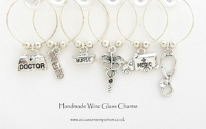 Silver Medical Wine Glass Charms