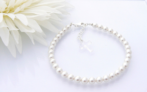 Holy Communion Crystal Cross Bracelet