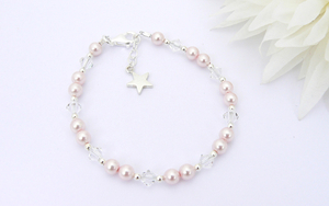 Childrens Christmas Gift Bracelet - Sterling Silver and Pearl