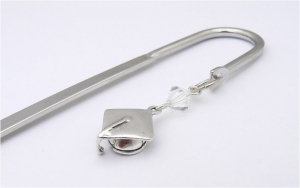 Sterling Silver Mortar Board Cap Charm Bookmark