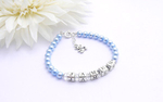 Boys Christening Bracelet with Sterling Silver Teddy Charm