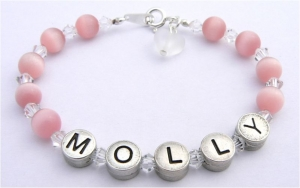 Personalised Name Bracelet Pink Cats Eye and Crystals