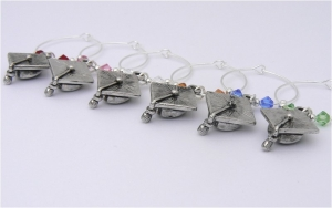 Graduation Mortar Board Wine Glass Charms