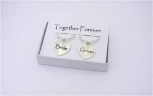 Bride and Groom  Enamel Wine Glass Charms