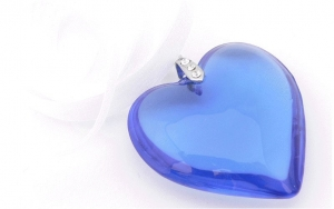 Something Blue Glass Heart Charm Wedding Bouquet Accessory