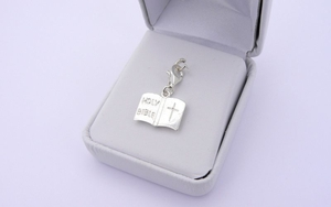 Sterling Silver Holy Bible Charm - Holy Communion Gift