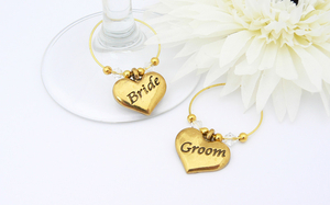 Bride and Groom Wine Charms - Gold Wedding Theme