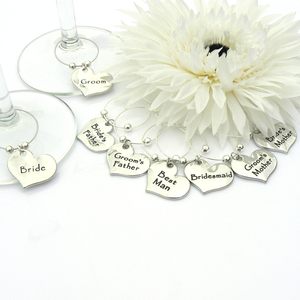 Contemporary Wedding Wine Glass Charms - Set of 8