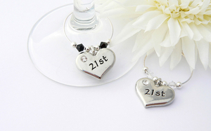 21st Wine Glass Charms - set of 2