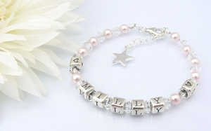 Twinkle Star Childrens Name Bracelet - Christening Present