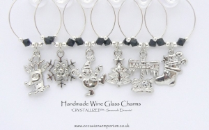 Christmas Table Decoration Wine Glass Charms - Black Silver