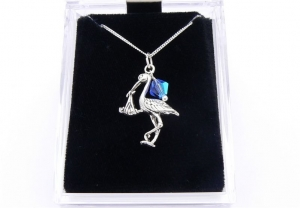 Stork and Baby Charm Sterling Silver Necklace - New Mum