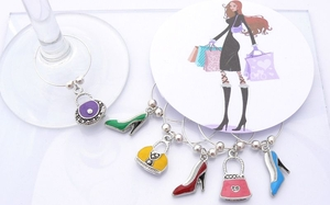 Handbag and Stilletto Wine Glass Charms - Girls Night Out