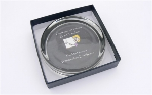 Teacher Thank You Gift Personalised Glass Paper Weight