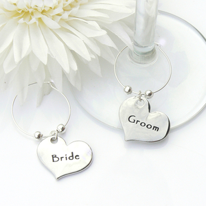 Contemporary Bride and Groom Wine Glass Charms