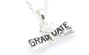 Graduation Charm Necklace - Sterling Silver Graduate Diploma