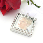 Crystal Picture Frame Bouquet Charm - Memory Locket