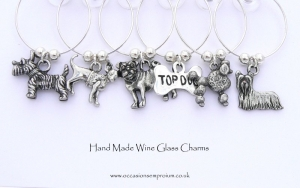 Dog Wine Glass Charms with Yorkie, Westie, Pug and Poodle
