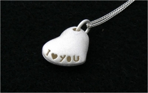 I Love You Sterling Silver Heart Necklace - Engagement Gifts