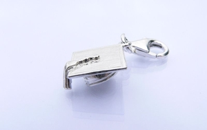 Sterling Silver Mortar Board Charm - Graduation Gift