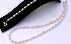 Wedding Bridal Jewellery Pearl and Crystal Necklace and Bracelet