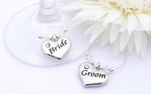 Bride and Groom Wine Glass Charms - Personalised Wedding Gift