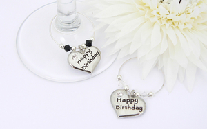 Happy Birthday Wine Glass Charms - set of 2
