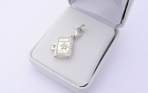 Sterling Silver Holy Bible Charm - Opening Locket