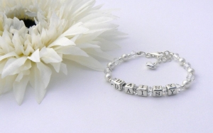 Sterling Silver Personalised Name Bracelet - Christening Gift