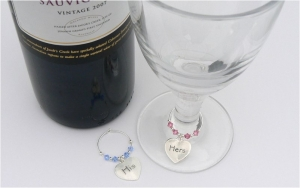 His and Hers Gift Wine Glass Charms