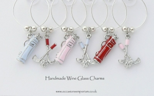 Golf Wine Glass Charms - Ideal Golfers Gift
