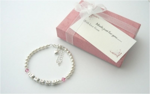 Silver Name Bracelet With Birthstone - Christening Gift