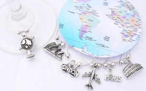 Travel the World Wine Glass Charms - Dinner Party Ideas