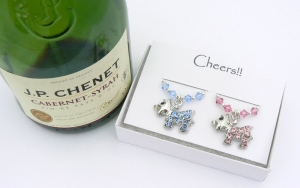 Pink and Blue Crystal Dog Wine Glass Charms