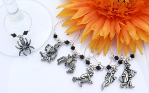 Halloween Wine Glass Charms with Black Crystals