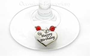 Happy Birthday Wine Glass Charm - Birthday Gift
