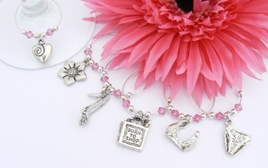 Hot Pink Girlie Wine Glass Charms