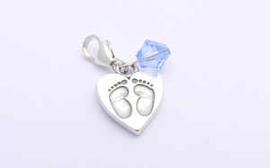 Boys Christening Gift - Sterling Silver Baby Feet Charm